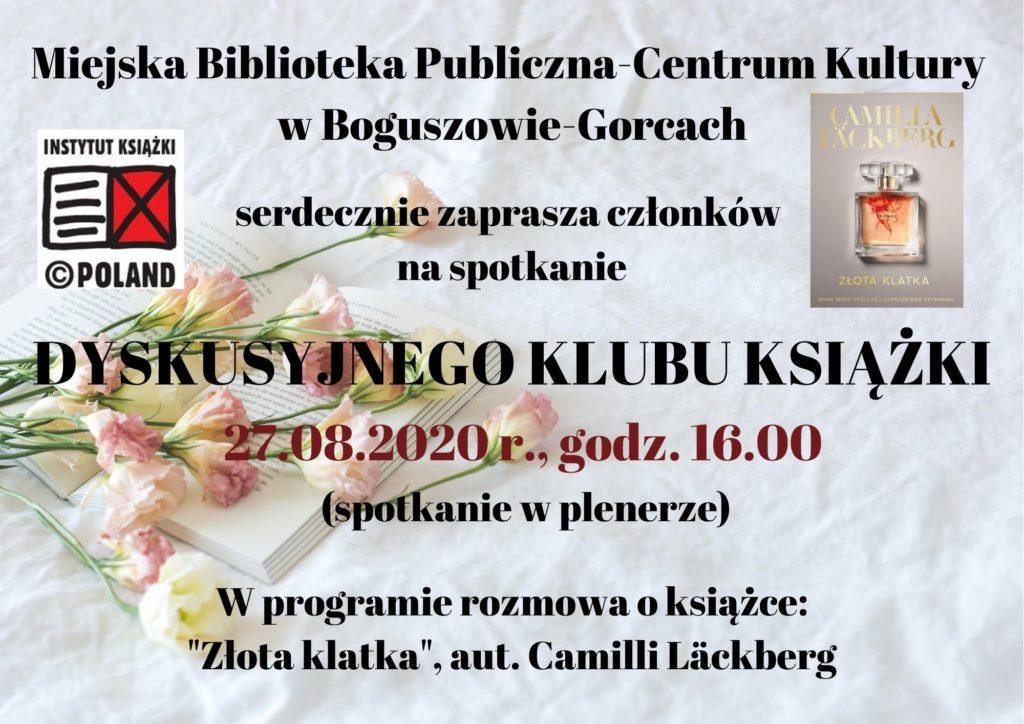 zaproszenie na spotkanie dyskusyjnego klubu książki - 27 sierpnia 2020 godzina 16