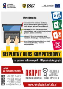 Informacja o bezpłatnym kursie komputerowym